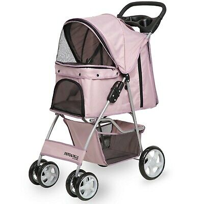 OxGord Pet Stroller Cat Dog 4 Wheel Walk Stroller Travel Folding Carrier PINK