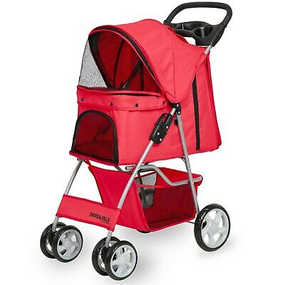OxGord Pet Stroller Cat Dog 4 Wheeler Walk Stroller Travel Folding Carrier Red