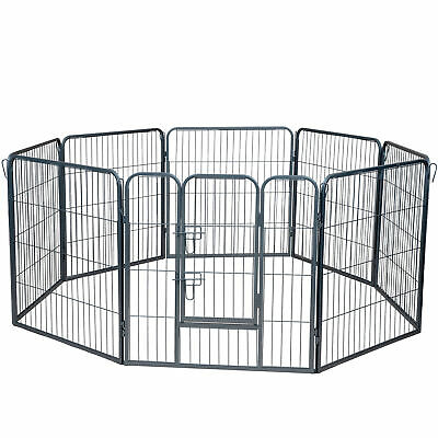 Dog Pet Playpen Heavy Duty Metal Exercise Fence Folding Kennel 8 Panel 32""