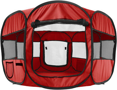 """OxGord 45"""" Pet Dog Cat Playpen Tent Portable Exercise Kennel Cage Crate RED"""