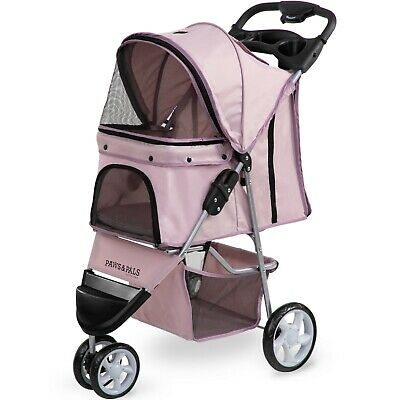 OxGord Pet Stroller Cat Dog 3 Wheel Walk Jogger Travel Folding Carrier PINK
