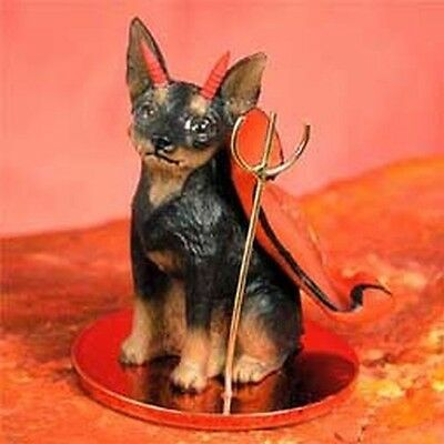 Miniature Pinscher Min Pin Tan Black Dog Devil Tiny Figurine Statue