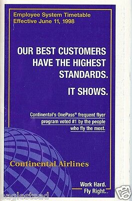 Airline Timetable - Continental - 11/06/98 - Employee System - S