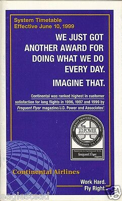 Airline Timetable - Continental - 10/06/99 - S