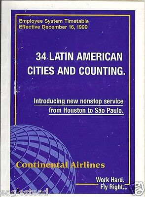 Airline Timetable - Continental - 16/12/99 - Employee System - S