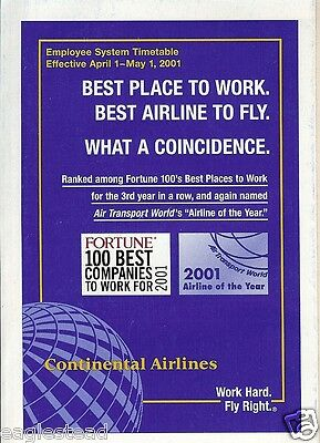 Airline Timetable - Continental - 01/04/01 -  Employee System - S