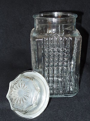 "VINTAGE KOEZE'S LARGE 10"" TALL CLEAR GLASS CANISTER APOTHECARY JAR LIDDED 1989"