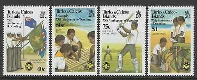 TURKS & CAICOS 1982 SCOUTS 75th ANNIVERSARY FLAGS CRICKET 4v MNH