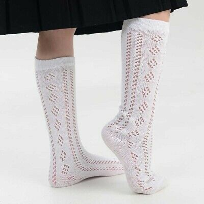 New 3 Pairs Girls White Pelerines Socks Long Back To School Pelerine Knee High