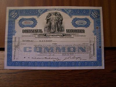 CONTINENTAL SECURITES 10 SHARES DATED 1932  NOT CANCELLED