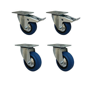 Set 100 mm Blue Wheels Elastik Rollen als Lenkrolle 2L+2LDS Transportrollen 1A