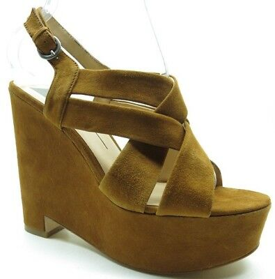 4f9428eef1e Dolce Vita Brown Suede Leather Ankle Strap Platform Wedge Sandals Heels 9.5