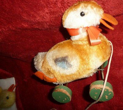 VINTAGE OLD STEIFF LARGE MOHAIR DUCK ON WOOD WHEELS PULL TOY ANTIQUE BEAR FRIEND