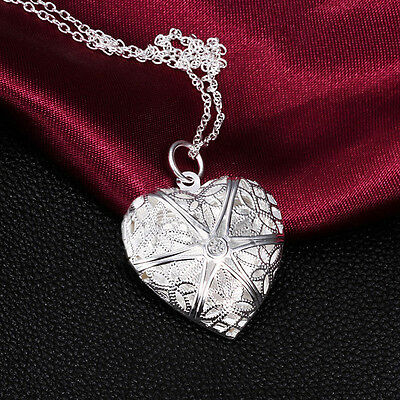 new 925Sterling Silver love heart valentine necklace pendant lover locket chain