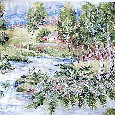 """Farm House Barkcloth Fabric Scenic Rural Trees Ferns and Stream or River 47x76""""+"""