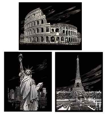 A4 Landmarks Silver Engraving Art Kits  Statue Of Liberty Eiffel Tower Colosseum