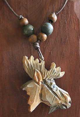 """Moose Necklace Quality Hand Carved Wood Painted Pendant with Beads Max 15"""" Cord"""