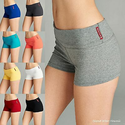 Junior Yoga Shorts Workout Gym Fold Over Waist Band Lounge Active Wear 8367