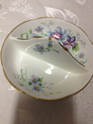 Small Fine Bone China Crown Divided Small Plate Gold Trim.