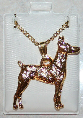 DOBERMAN PINSCHER Dog 24K Gold Plated Pewter Pendant Chain Necklace USA Made