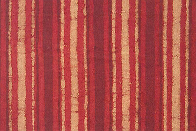 Red, Striped, Hand Block Printed Cotton. 2½ Yards. Dabu Mud Resist, India Fabric