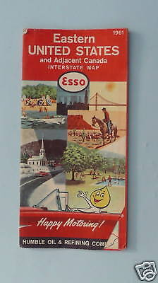 1961 Eastern United States road map Esso oil early IS