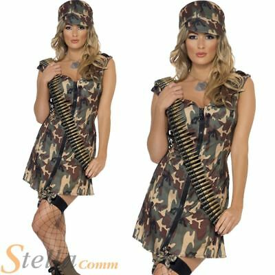 Ladies Army Girl Costume Sexy Soldier Military Uniform Womens Fancy Dress Outfit