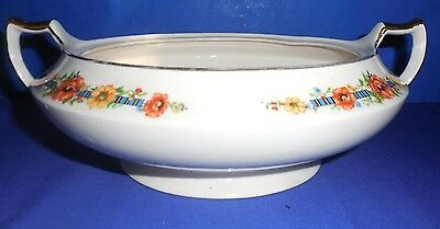 Vintage Limoges Ivory Ware Delyte 4ZI Footed Serving Bowl with Gold Trim {P2} AG
