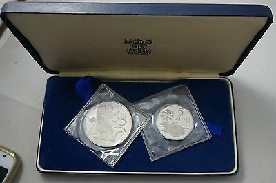 SEYCHELLES 5 & 10 Rupees 1974 Silver Proof Set KM PS3 Turtle