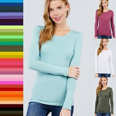 CREW NECK Long Sleeve COTTON TEE Soft Stretch T-shirt Fitted Top DISCONTINUED