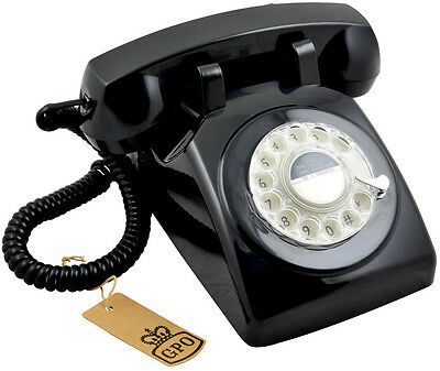 GPO 1970's Traditional Rotary Dial Classic British Design Telephone - Black