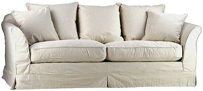 CHIC SHABBY FRENCH STYLE SALT&PEPPER LINEN LARGE  SOFA,87''L X 35'' X 31''H.