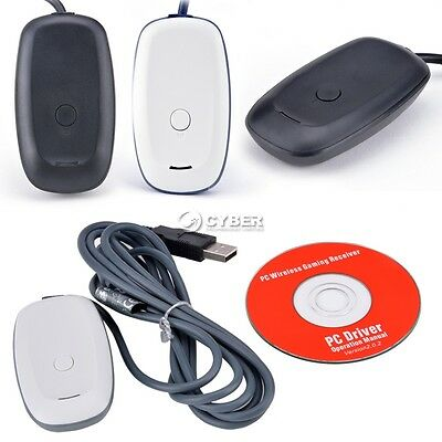 Wireless Gaming Receiver Microsoft Xbox 360 Controller to PC Steam Adapter Black