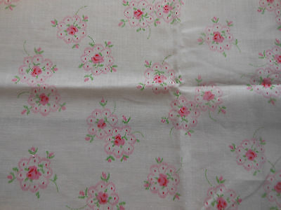 Antique Vintage Sweet Pink Cottage Roses Cotton Fabric ~ dolls bears quilts ~