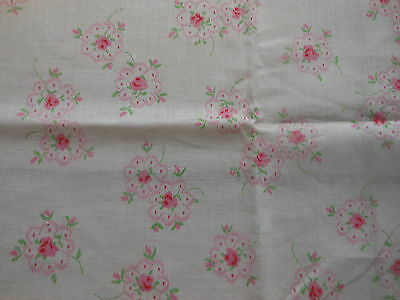 Antique Vintage Sweet Pink Roses Cotton Fabric ~ dolls bears quilts~