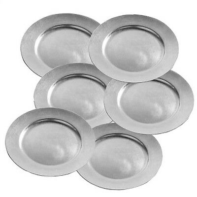Set Of 6 Silver Lacquer Radiance Decorative Charger Dinner Dining Under Plates