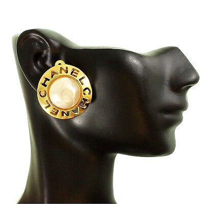 - VINTAGE CHANEL Clip On Earrings - GOLD PEARL LOGO Auth EXLNT