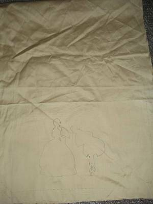 Vintage 1930's Colonial Man & Women Towel Table Runner To be Embroidered Sta