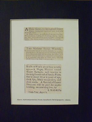 Slave Ads 1850s Southern Newspapers Matted Reprint