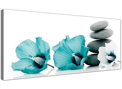 Teal Cheap Canvas Print of Flowers for Living Room 1072
