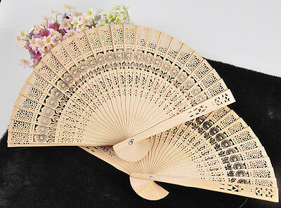 FT7 Vintage Folding Bamboo Original Wooden Carved Hand Fan Wedding Bridal Party