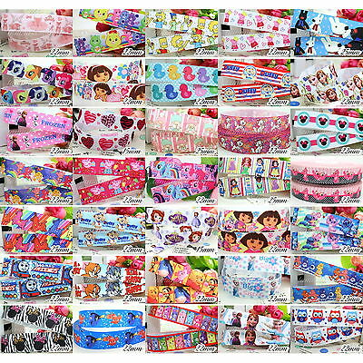 "5 10 50 100 Yds 1/2"" 7/8"" 1"" 15 22 25mm Grosgrain Cartoon Printed Pattern Ribbon"
