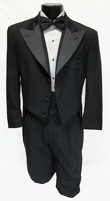 40R Mens Black 100% Wool Unique Peak Tuxedo Tailcoat Theater Halloween Costume