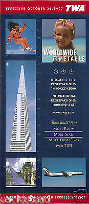 Airline Timetable - TWA - 26/10/97