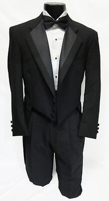39S Mens Black 100% Wool 2 Button Notch Tuxedo Tailcoat Theater Costume Dickens
