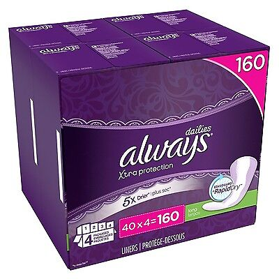 Always Xtra Protection 160 pk Dailies Daily Long Panty Liners Tampons Rapid Dry