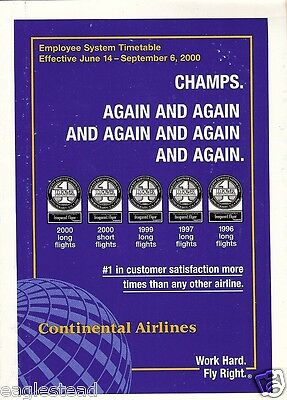 Airline Timetable - Continental - 14/06/00 -  Employee System - S