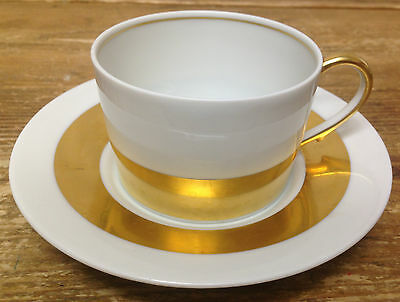 Anneau D'or Ceralene Menton Limoges Empire Thick Gold Band White Cup Saucer Set