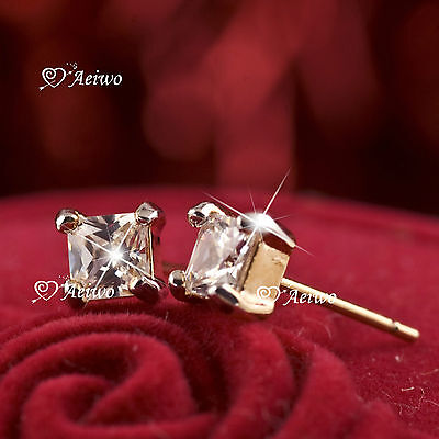 18K Yellow White Gold Earrings Gf Cubic Zirconia Sparkling Square Stud 4Mm