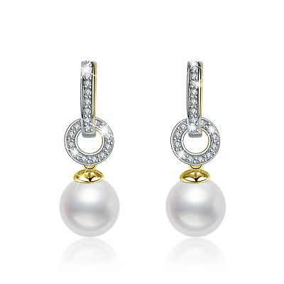 18K Yellow Gold Filled Crystal Earrings Imitation Pearl Fashion Stud